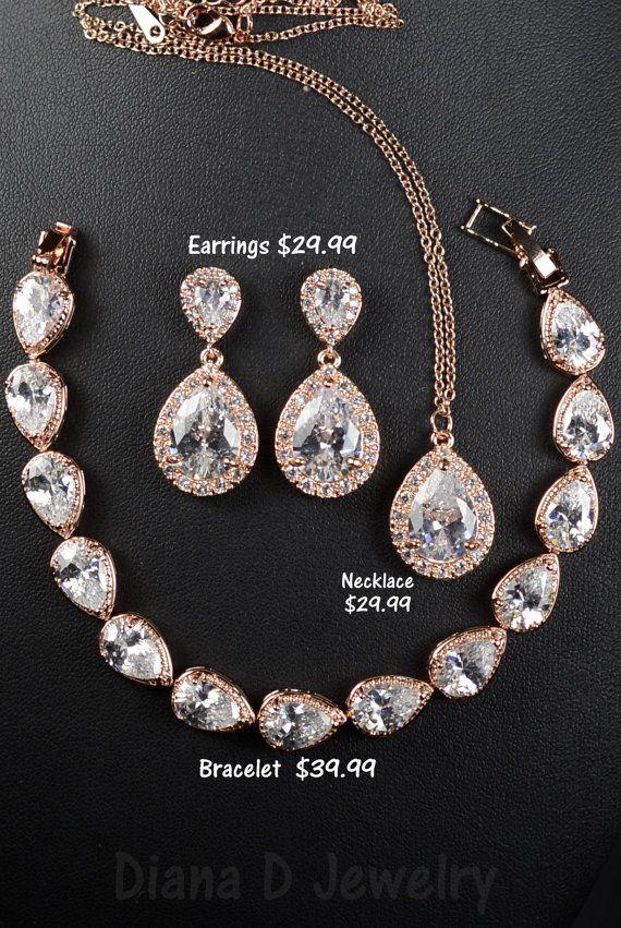 Rose goud kristallen bruiloft sieraden Bridal door thefabbridal3