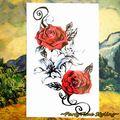 25 Style De Mode Tatouage Temporaire Corps Art, romantique Rouge Rose Conceptions, Flash Tatouage Autocollant Garder 3-5 jours Étanche 20*12 cm