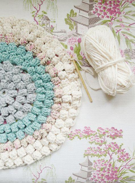 crochet popcorn stitch rug.