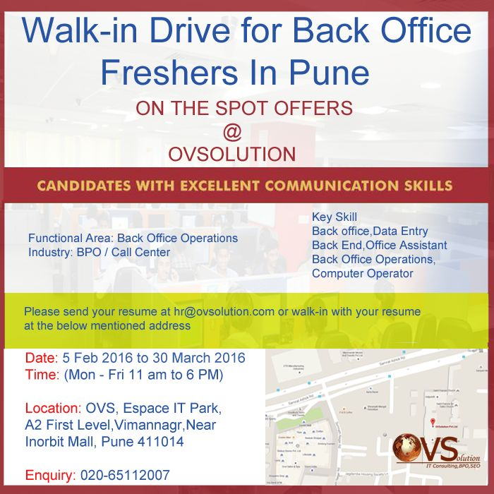 Fresher Walk-in Drive for Back Office Process at OVSolution Pune! Mon-Fri: 11:00 a.m to 5:00 p.m. #hiring #jobs #bpo #careers #ovs