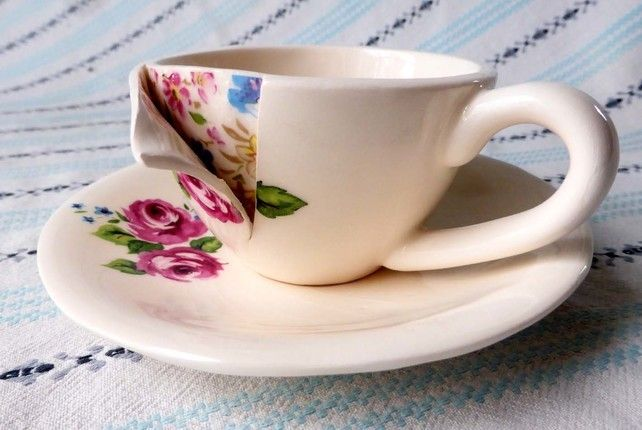 Under the Surface sculptural teacup and saucer
