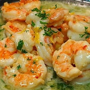 healthy shrimp scampi (no butter-uses chicken broth, white wine, lemon juice)