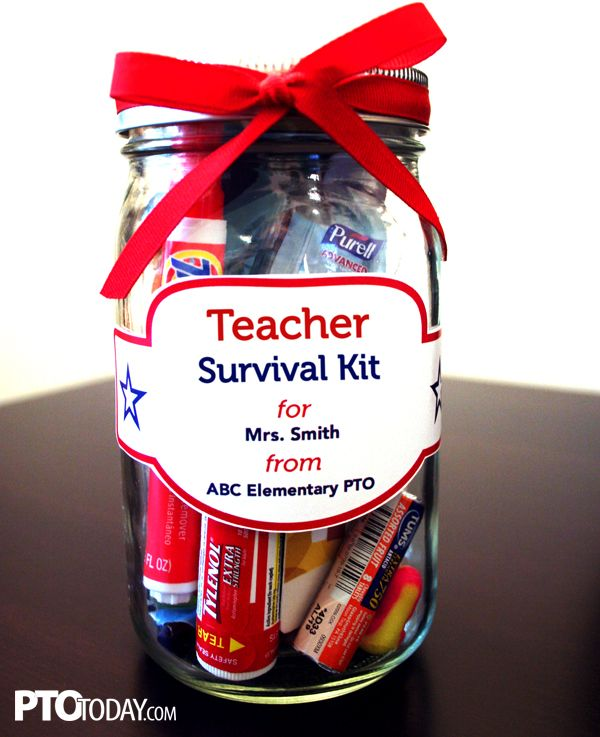 Great way to celebrate teachers! Give them a fun survival kit with a collection of cute items!