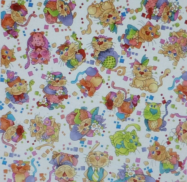 Happy Cats-Tossed Cats~Cotton Fabric,Quilt, Craft,by Quilting Treasures,24415-X Fast Shipping N266