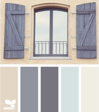 window tones: Colour, Design Seeds, Color Schemes, Living Rooms Color, Grey And Tans Bedrooms, Windows, House Color Palettes, Shutters, Blue And Tans Bathroom