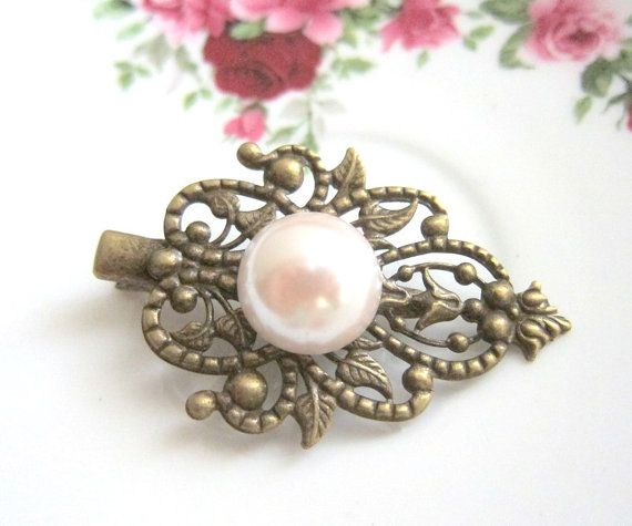 White Pearl Hair Clip Ivory Vintage Style Wedding Bridesmaids Hair Pin Bridal Head Piece Gift Shabby Chic Victorian Spanish Hair Accessories