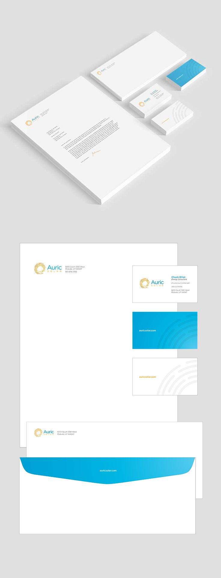 Auric Solar Stationery Design #epicmarketing #marketing #graphicdesign #print #stationery #letterhead