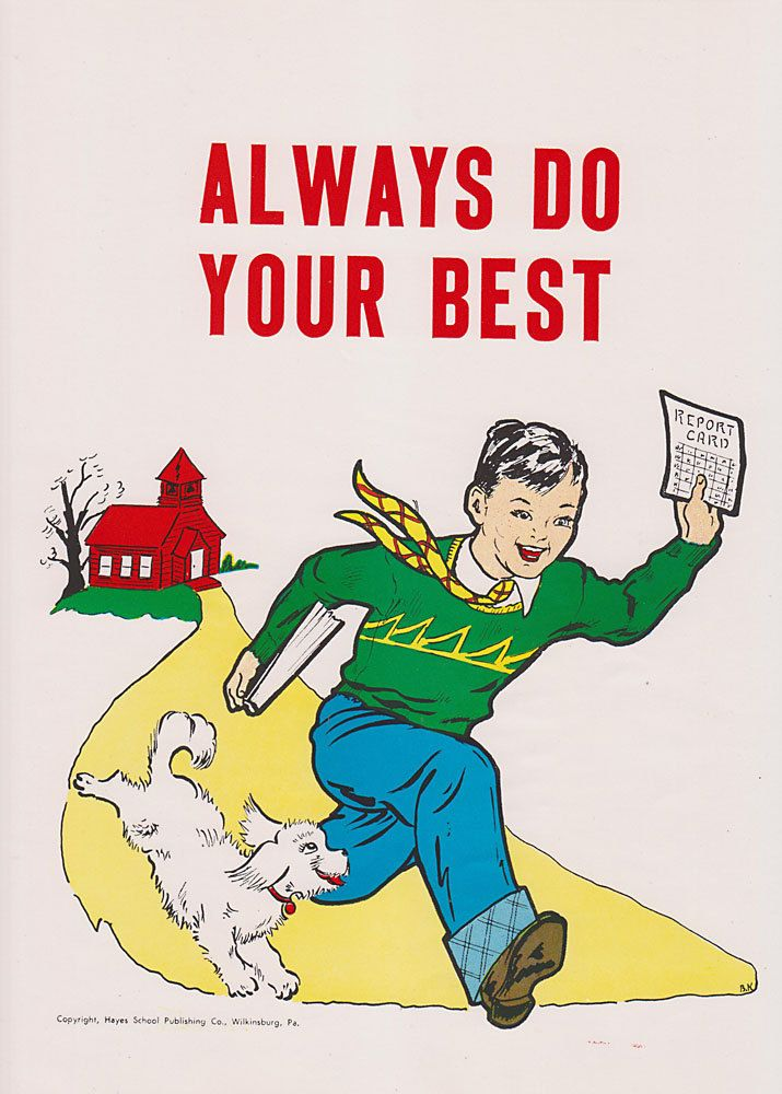 Vintage School Poster - Always Do Your Best - Good Manners Illustration - 1959. $11.95, via Etsy.