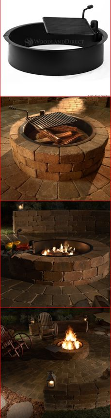 Beautiful and Easy DIY Outdoor Fire Pit.  Use the Rockwood Steel Insert and Cooking Grate to create a wood burning fire pit instantly or custom designed to fit your outdoor patio! You can grill on an open fire with the included swivel cooking grate.