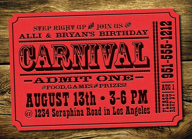 My nephew is having a circus/carnival inspired birthday party and here are the invitations I designed for his party.         Purchasing this Invitation:   We keep getting request for this invitation, so here is the deal, we will customize this invitation f ...