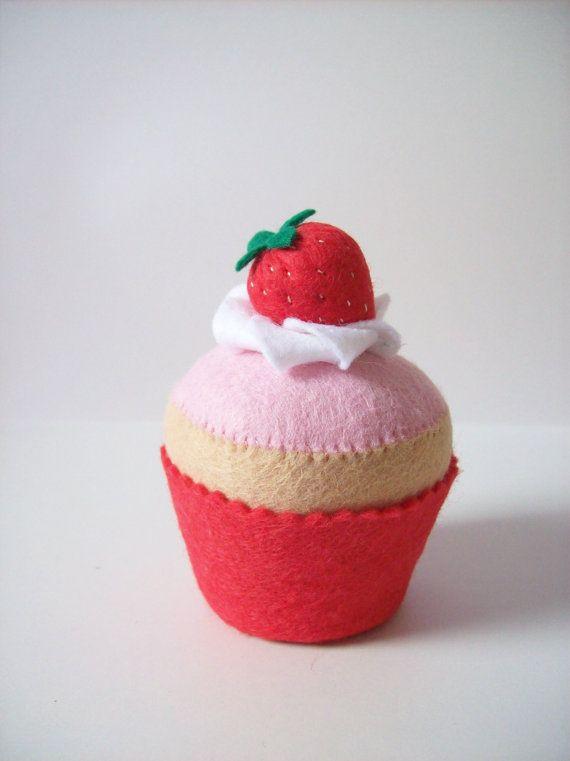 Felt strawberry cupcake pincushion play food by Hippywitch on Etsy, £4.00