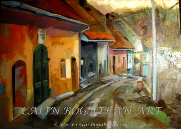 Stradă în cetatea Sighișoara peisaj în ulei pictură pe pânză peisagistică realistă hiperrealistă pe pânză picturi executate de pictorul comtemporan Călin Bogătean membru al Uniunii Artistilor Profesionisti din Romania. Peisaje originale unicat Stradă în cetatea Sighișoara