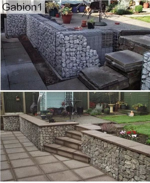 Photo: during and after shots of Maurice's #gabion wall in Swanwick, 750mm tall gabions with concrete blocks filling the unseen portion of the #gabion www.gabion1.co.uk