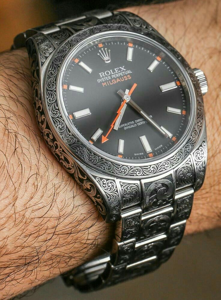Price for this MadeWorn-engraved Rolex Milgauss 116400 watch is $16,000