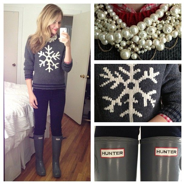 Pearls, snowflake sweater, Hunter boots. Such a cute winter outfit. Without the pearls. I cant wait for winter!