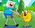 In Adventure Time Skateboarding, Finn and Jake in a new adventure, this time they are in a skateboarding challenge. They need your help to overcome all task and escape from Ice King. Have fun playing with Adventure Time!