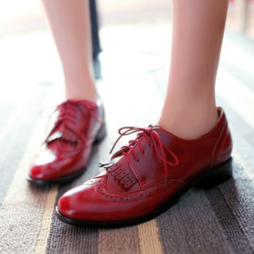 Womens Lace Up Tassel Pointed Toe Cuban Heel Oxfords College Shoes Plus Size New