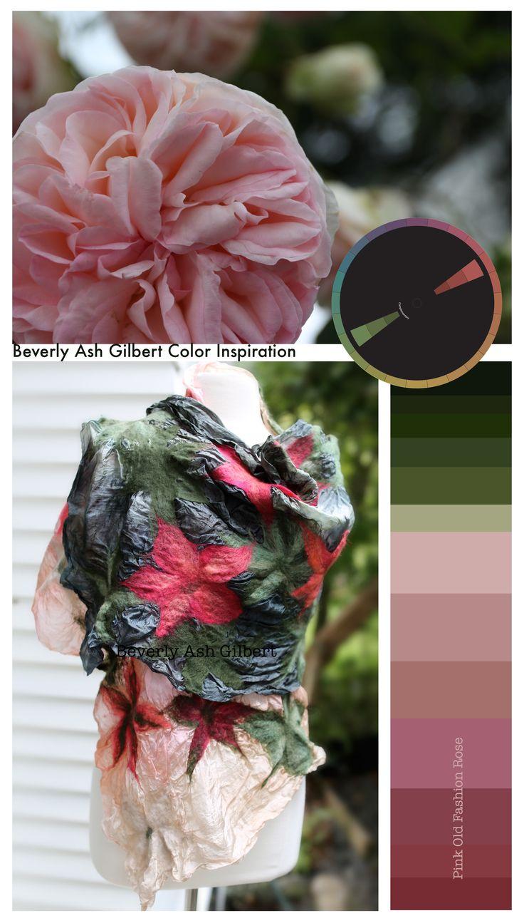 Color Inspiration to Nuno Felt Shawl. #colorpalette, #colorinspiration, #Nunofelt, #rose, #green. From http://www.beverlyashgilbert.com/gallery/galleryoffiberart.html