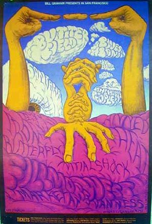 Artist Lee Conklin's 1968 Concert Poster for Santana, Iron Butterfly, and Canned Heat.