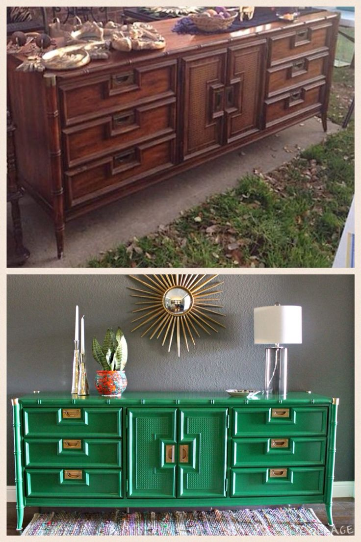 Faux painting furniture ideas - Faux Bamboo Credenza Makeover Benjamin Moore Amazon Moss Facebook Com Restoredandrestyled