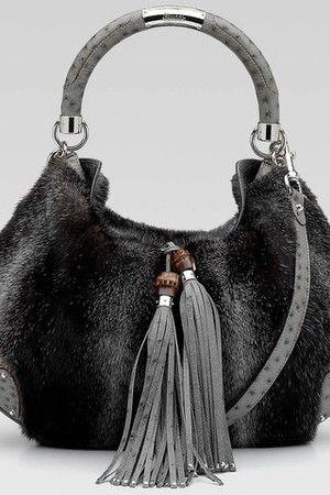 Gucci Indy Top Handle Fur Handbag