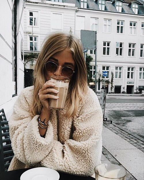 I would rather be here but school is just as great, right? The drink, coat and background all look so heavenly right now.