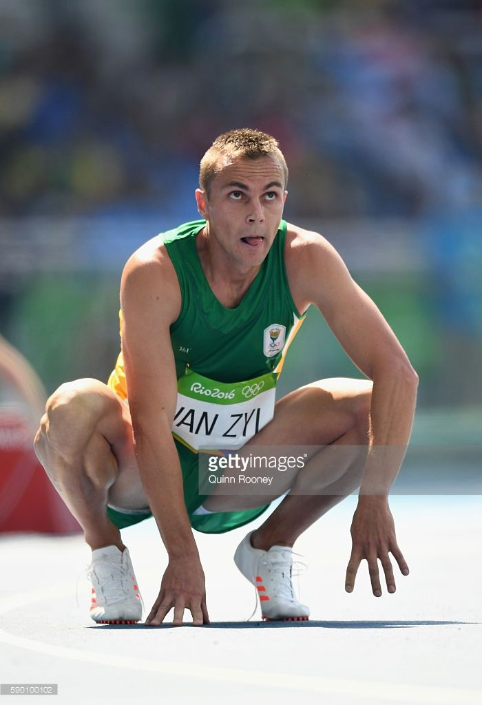 L.J. van Zyl of South Africa looks on during the Men's 400m Hurdles on Day 10 of the Rio 2016 Olympic Games at the Olympic Stadium on August 15, 2016 in Rio de Janeiro, Brazil.