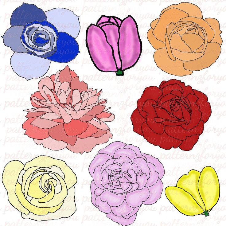 Digital Flower Clipart Pack, Set of 8