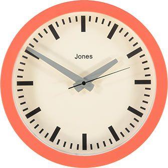 Jones Clocks Orange Atlas Analogue Clock