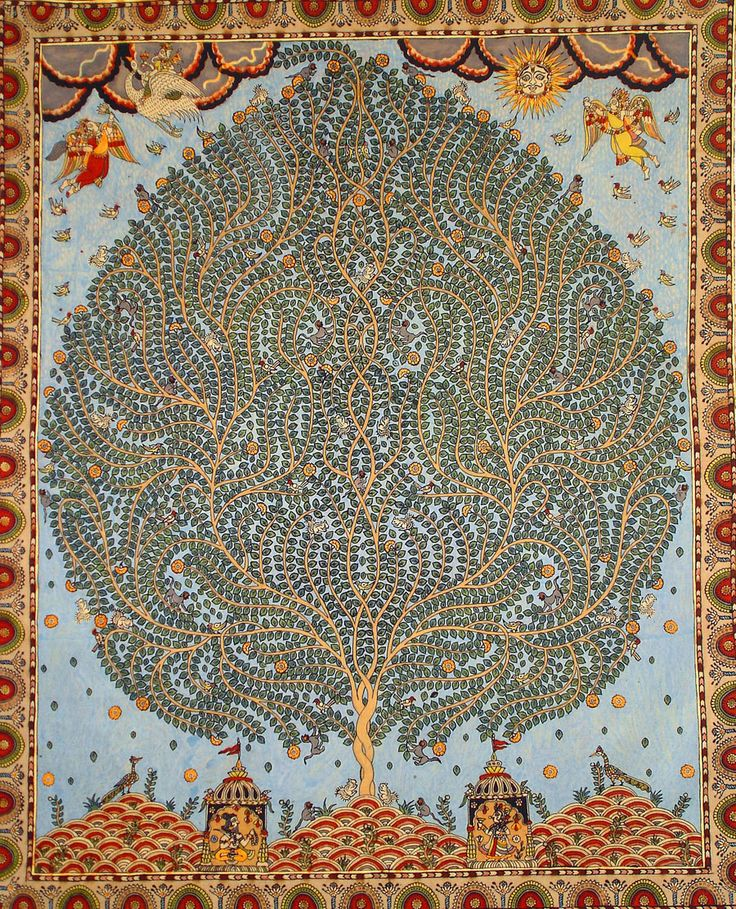 Tree of Life on Mata ni Pachedi, printed cloth offering to the mother goddess. Via Unconscious Eloquence
