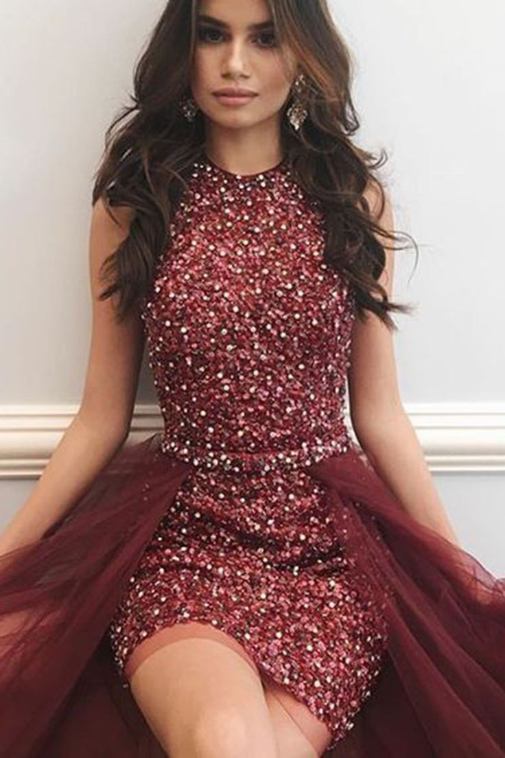 Sequins prom dress, ball gown, cute high low prom dress for teens