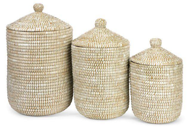 Asst. of 3 Aria Sea-Grass Baskets, Tan
