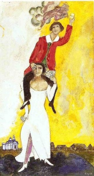 Marc Chagall, Double portrait with wine glass