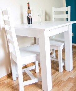 Holztisch 70x70 in Shabby Chic Weiß /ausziehbar von Massivholzmöbel Rose
