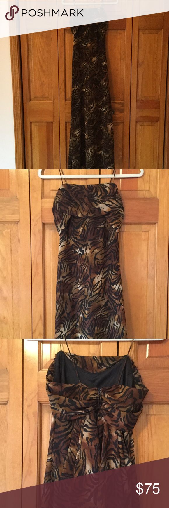 Animal print long dress by Betsy & Adam by Jaslene Light weight Flowy dress with zipper back and scarf like detail. Lined inside. Material label removed. I'm guessing it's poly or rayon. Pretty dress for a special occasion. Length is approx 49 1/2 Dresses