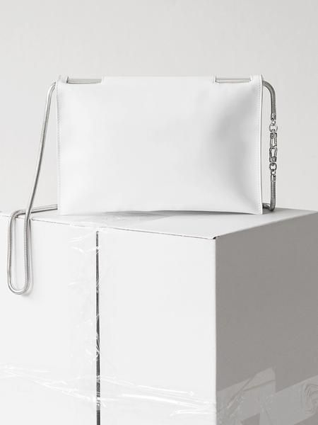 Flat Fold Bag / white leather and silver snake chain / by Aetelier
