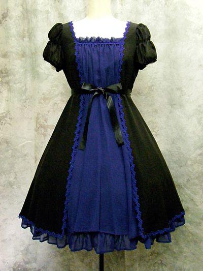 Moi-meme-Moitie Bi-Color Short Sleeve Black x Blue Lace