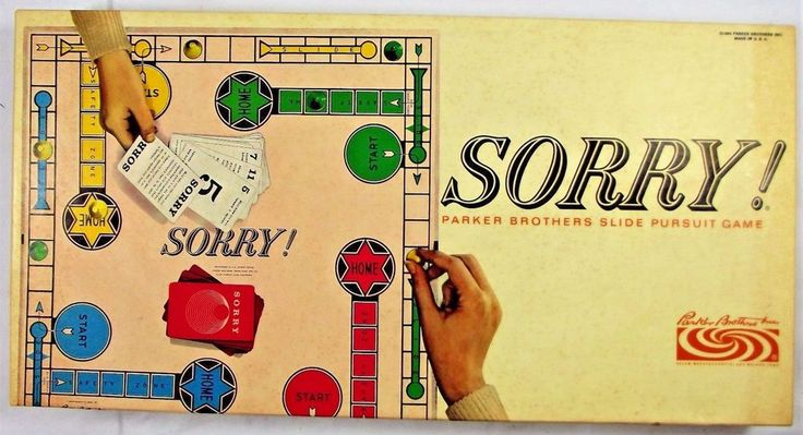 Vintage Sorry! Board Game Parker Brothers Edition 1964 COMPLETE! Original Box #ParkerBrothers