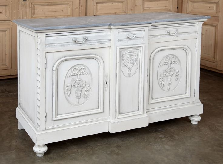 Antique french louis xvi marble top buffet
