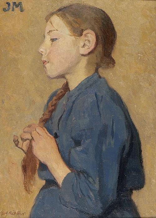 JÓZEF MEHOFFER  Mädchen im blauen Kleid
