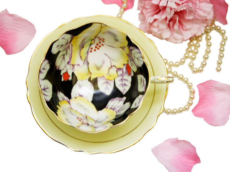 Vintage Paragon Teacup Hand Painted, Pastel Yellow Black Teacup, Yellow Roses, Rare Tea Cup, China Cabinet Decor  by AntiquesfromAmy on Etsy https://www.etsy.com/listing/478627982/vintage-paragon-teacup-hand-painted