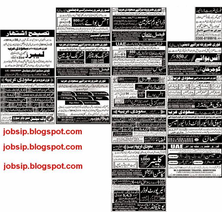Jobs in Pakistan: Shuttering Carpenter,Heavy Driver,Light Driver,Mas...