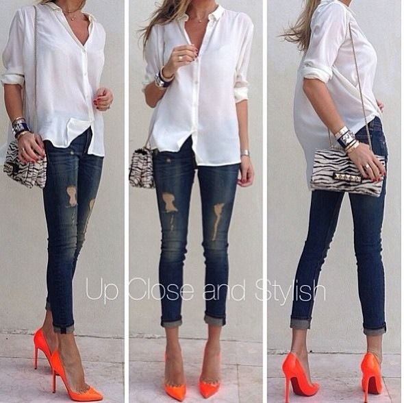 Love it by Lolafashionfy. Love the pop of Orange heels @Laura Jayson Jayson Jayson Furlow I am pinning some orange and purple heels that I searched. There is lots at all different prices.