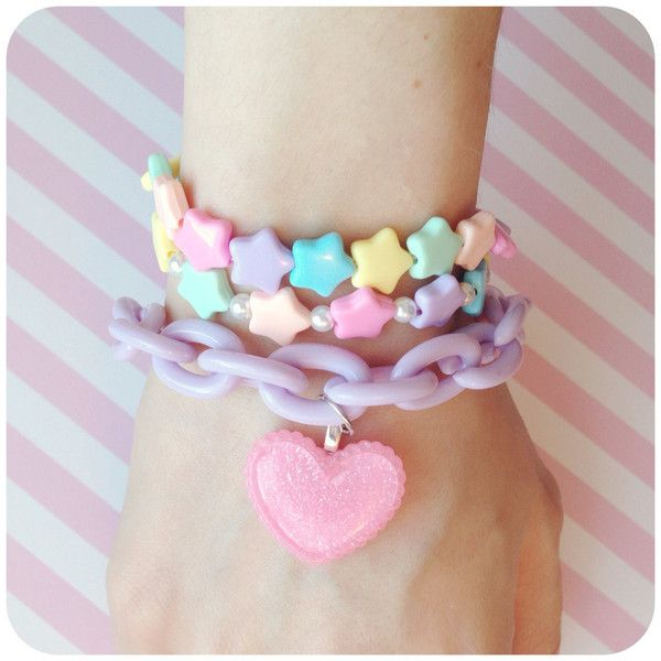 Pastel Kawaii Fairy Kei bracelet ($4) ❤ liked on Polyvore featuring jewelry, bracelets, accessories, jewels, pink, beaded jewelry, chunky bracelet, pandora bracelet, pink bracelet and chain bracelet