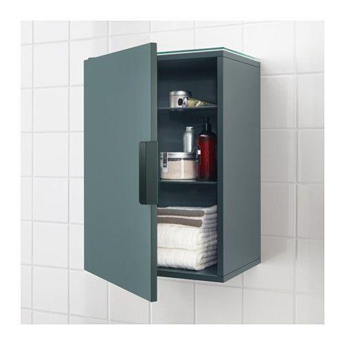 GODMORGON Wall cabinet with 1 door - grey-turquoise - IKEA