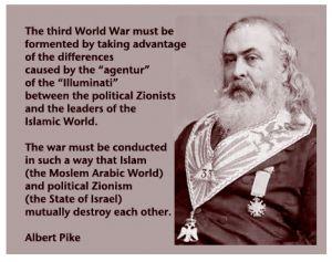Freemason Albert Pike & founder of KKK that Islam and Zionist would mutually…