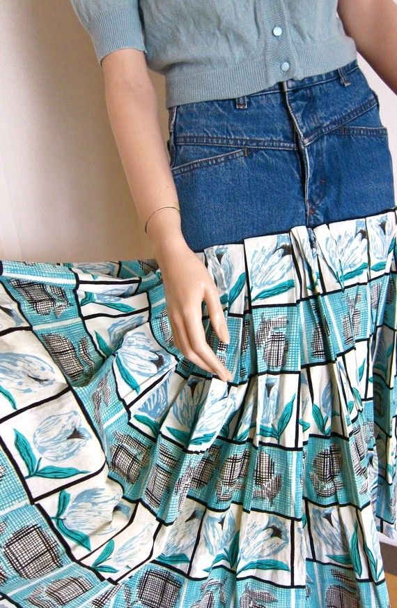 Inspiration: jeans and fabric to maxi skirt