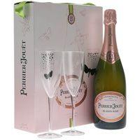 Perrier Jouet Blason Rose Brut NV Champagne Gift Set w/ Two Matching Glasses