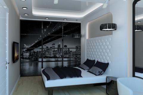 Черно-белые стены в маленькой спальне