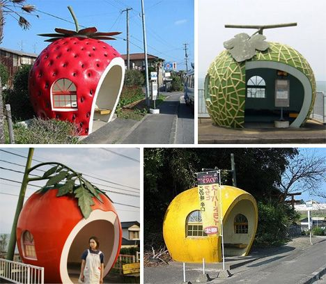 Giant Fruit-Shaped Bus Stops Line Streets in Konagai, Japan (part of Isahaya City in Nagasaki).